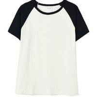 Color Block Short Sleeves T-shirt in Cotton