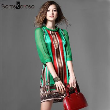 2017 Women Summer Dress Runway Dress Europe Fashion Baroque Style Green Half Sleeve Bow Patchwork Vintage Pattern Print Dresses