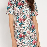 Floral Print Short-Sleeve Zipper Back Shift Dress
