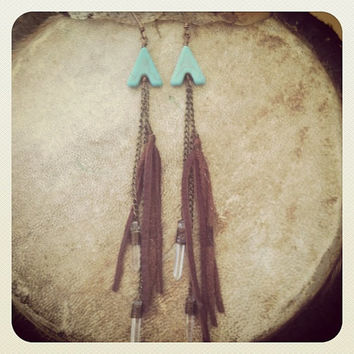 Magnesite chevron and quartz crystal deerskin tassel earrings // free shipping, holiday, black friday