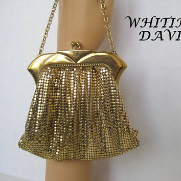 Vintage Whiting Davis Gold Metal Mesh Evening Bag Purse