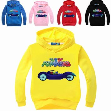 PJ MASK PJMasks Boys T Shirt Cotton Long Sleeve Shirt Cartoon Girl Kids Hooded T-shirts Top Children Tops Sport Clothes