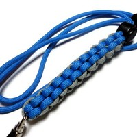 Mens Lanyard 550 Paracord Blue with Grey Breakaway Handmade Strong
