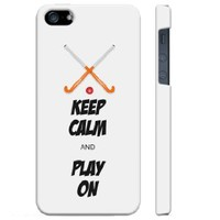 SudysAccessories Keep Calm And Play On FIELD HOCKEY iPhone 5 Case iPhone 5G Case - SoftShell Full Plastic Direct Printed Graphic Case