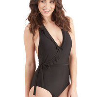 ModCloth Vintage Inspired Early to Rise One-Piece Swimsuit in Black