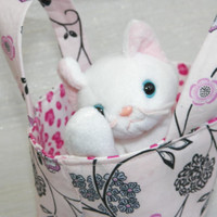 White Kitty Pink Floral Teeny Tote Bag Gift for Kids