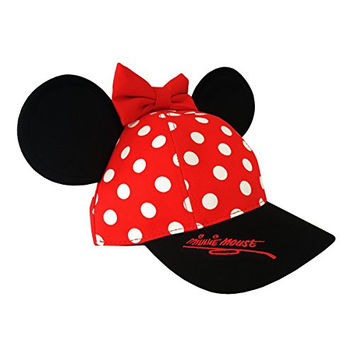 Minnie Mouse Disneyland Polka Dot Snapback Cap with Ears - Disney Parks Exclusive