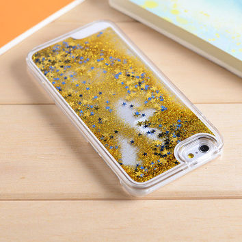 Golden Star Dynamic Liquid Glitter Sand Quicksand Star Bling Clear iPhone 5/5S Phone Case