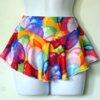 Birthday Party Skirt, Adorable Figure Skating or Roller Skate Skirt w/Colorful Balloons, Attached Brief, Girls Sizes, Includes Hair Tie