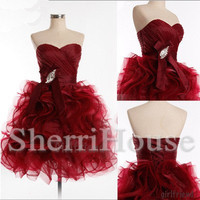 Beads Ruffled Sweetheart Strapless ball Gown Short Bridesmaid Celebrity dress ,Organza Evening Party Prom Dress Homecoming Dress