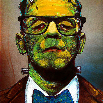"Print 11x14"" - Professor Frankenstein - Monster Creature Classic Glasses Bowtie School Nerd Geek Cute Dark Art Horror Pop Art Green Yellow"