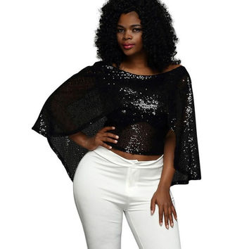 Fashion Women Blouses Sexy Fashion Sleeveless Shawl Black Sequined Casual Batwing Sleeve O-Neck Short Tops ropa mujer #43 GS