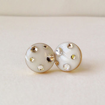 White Earrings, Sparkly White Stud Earrings, Rhinestone Ivory Stud Earrings, 10 mm Stud Earrings, Hypoallergenic, Resin Jewelry, For Her