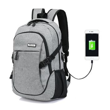 Retractable USB Charge Anti Theft Canvas Backpacks