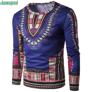 CHAMSGEND WillBeen Mens Traditional Thailand Style African Print Long Sleeve T-Shirt Fashion