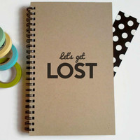 Writing journal, spiral notebook, cute diary, small sketchbook, scrapbook, memory book, 5x8 journal - Let's get lost, travel journal