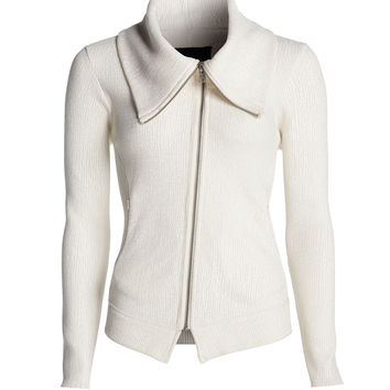 NIC+ZOE - Foiled Knit Moto Jacket - Birch