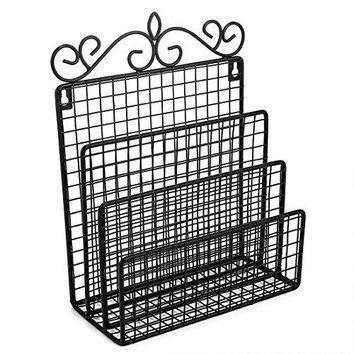 Samstar Wall Mounted Mail Organizer  Hanging Mail Sorter Letter Holder Organizer for Entryway Kitchen and Home 3 Sections Black
