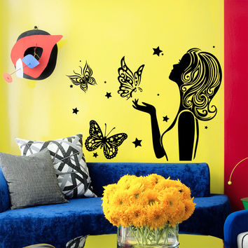 Wall Decal Fashion Beauty Salon Girl Hair Hairstyle Butterflies Design Decals Wedding Hair Salon Hairdressing Living Room Home Decor 3780