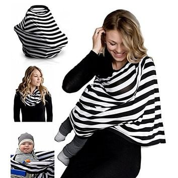 Multipurpose Nursing Breastfeeding Scarf - Baby Car Seat Canopy, Shopping Cart, Stroller, Carseat Cover