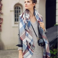 Cashmere Winter Stripes Plaid Scarf [120846385177]