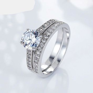 Silver Double Ring Wedding Sets for Women Pave AAA Zircon Stone Wedding