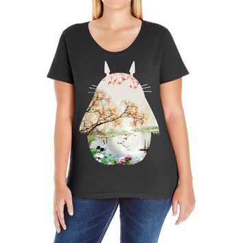 Totoro With Japanese Landscape Ladies Curvy T-Shirt