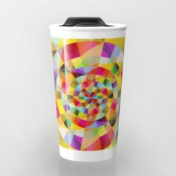 Colorful Abstract Swirly Tune Design (Fancy Fresh And Modern Hippy Style) Travel Mug by Jeanette Rietz