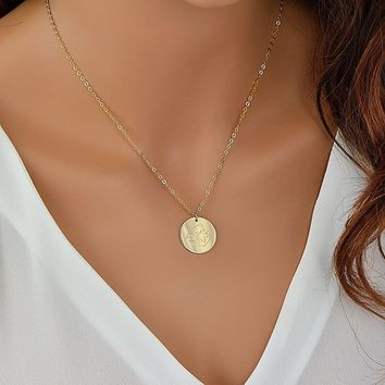 Zodiac Necklace - Coin Necklace - Medallion Necklace - Gift For Women - Gold Necklace - Personalized Necklace - Horoscope Necklace