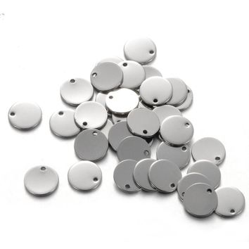 100PCs, 10mm Round Dog Tags Stainless Steel Silver Stamping Blanks Charm Pendants DIY Jewelry Findings Accessories For Lettering