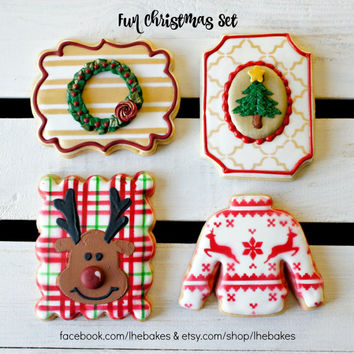 Casual Christmas: Rudolph, Christmas Tree, Wreath, and Sweater (1 Dozen Sugar Cookies)