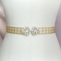 Rhinestone Crystal buckle Gold shine Stretch Belt Skinny Sash Belt , wedding belt bridal sash dress belt elastic belt