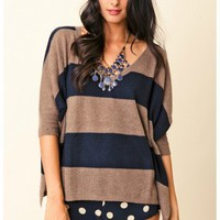 Minnie Rose - Cashmere Striped Pow Wow Sweater
