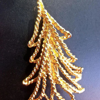 Gold Tone Twisted Christmas Tree Brooch-Pin, Abstract, Vintage