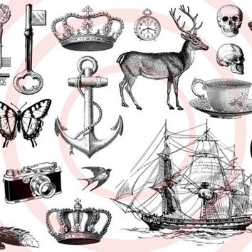 temporary tattoo set of 22 - Tiny Tattoos - Ink, Key, Nautical, Fox, Tattoo, Woodland, Fox, Anchor, Crown