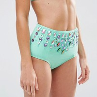 ASOS | ASOS Frozen Gem Embellished High Waist Bikini Bottom at ASOS