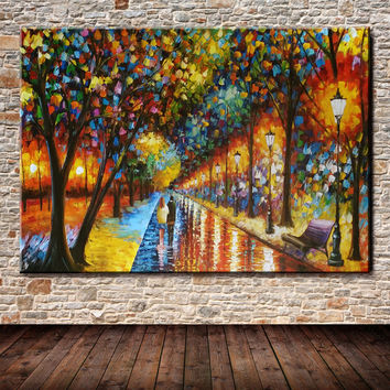 Modern Palette Knife Park Street Oil Painting On Canvas Art Pictures For Room Decor Wall Paintings No Frame 60x90cm