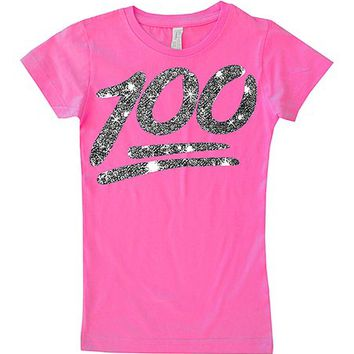 Micro Me Hot Pink '100' Fitted Tee - Toddler & Girls