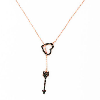 Rose Gold Heart Necklace • Lariat Necklace • Arrow Necklace • Valentine's  Day Gift • Black Heart Necklace • Heart Necklace | 0255NM