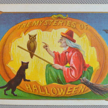 Halloween Postcard, Witch JOL Owl and Cat, Halloween Card, Halloween Ephemera, Antique Postcard, Ser 804, Mysteries of Halloween