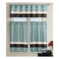 Pintucked Kitchen Window Curtain Set 2 Tier Panel Curtain and 1 Valance: Burgundy, Teal, Chocolate Brown, Pure White (Teal)