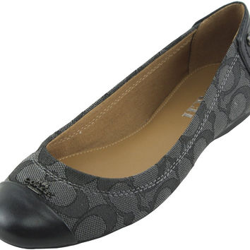 Coach Women's Chelsea Leather Flat Black Smoke 7.5 B(M) US '