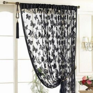 New Arrival Door Curtain Window Butterfly Pattern Tassel String Room Curtain Divider Scarf