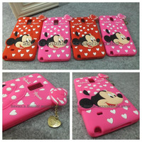 Luxury soft silicone 3d cute cartoon metal pendant minnie mouse protective case mobile phone cover for samsung galaxy note 3 4