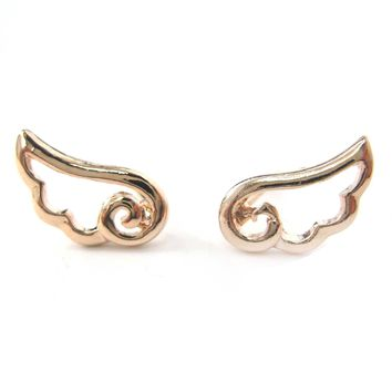 Small Angel Wings Feather Outline Stud Earrings in Rose Gold | DOTOLY