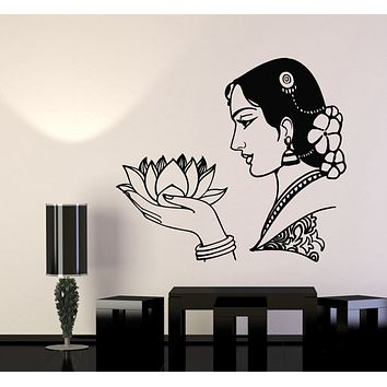 Vinyl Wall Decal Oriental Woman Face Lotus Flower Hinduism Stickers Mural (g3009)