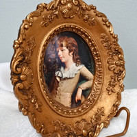Vintage Victorian Frame Ornate Gilt Carved Wood/Gesso With Picture Excellent Condition