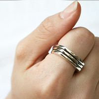 ENGRAVAEBLE DESIGNED SILVER RING - 2 LINE STRIPE