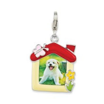 Enameled Pet Picture Frame Charm in Sterling Silver