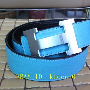 Authentic Hermes Mens Blue Belt Leather With Silver H Buckle 90cm